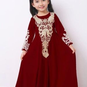 Golden Crochet Lace Jubah Maroon
