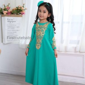 Golden Crochet Lace Jubah Turqouise