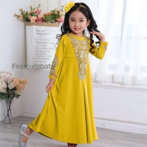 Golden Crochet Lace Jubah Yellow