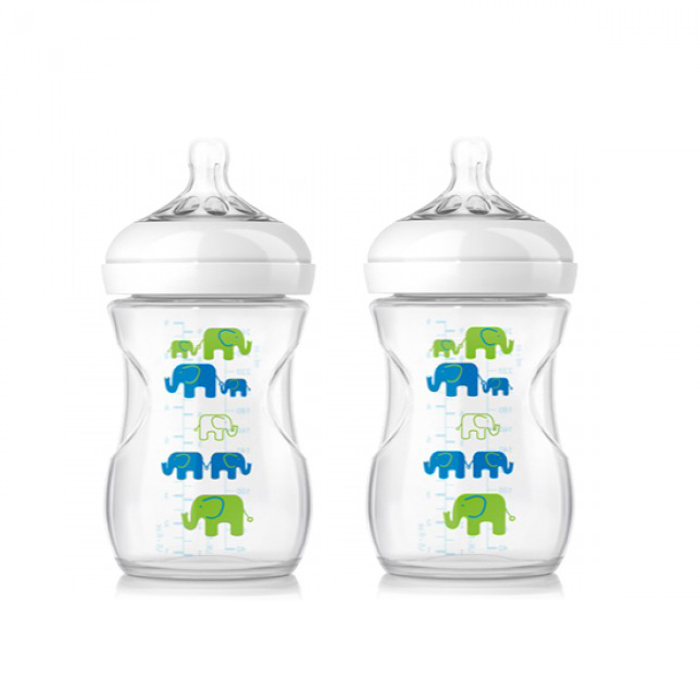 Philips Avent Natural Bottle Elephant Design Blue Green Twin