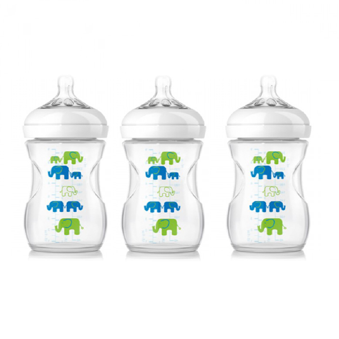 Philips Avent Natural Bottle Elephant Design Blue Green Triple
