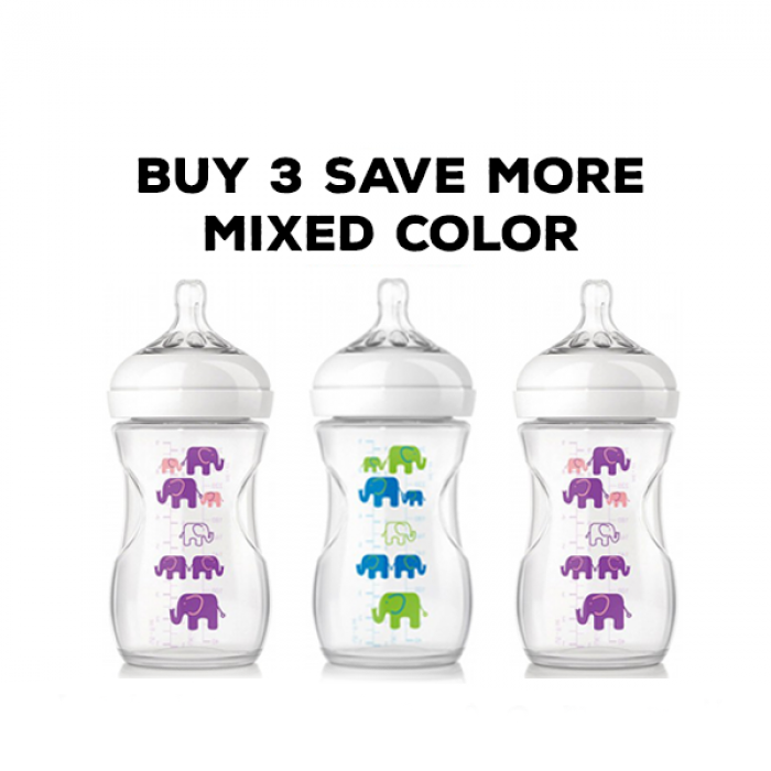 Philips Avent Natural Bottle Elephant Design Mixed Color Triple Combo