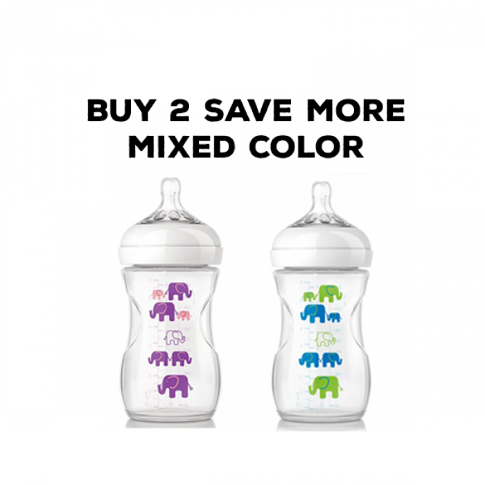 Philips Avent Natural Bottle Elephant Design Mixed Color Twin