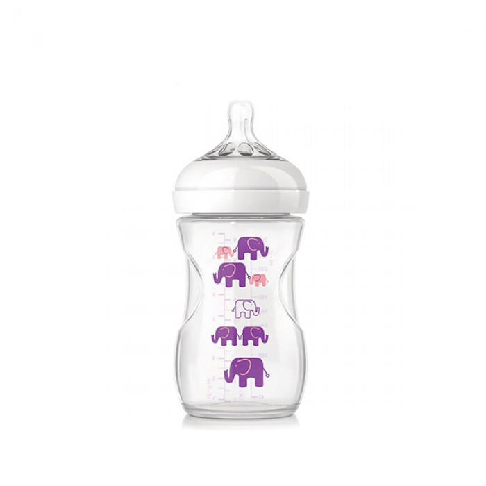 Philips Avent Natural Bottle Elephant Design Pink Purple Single