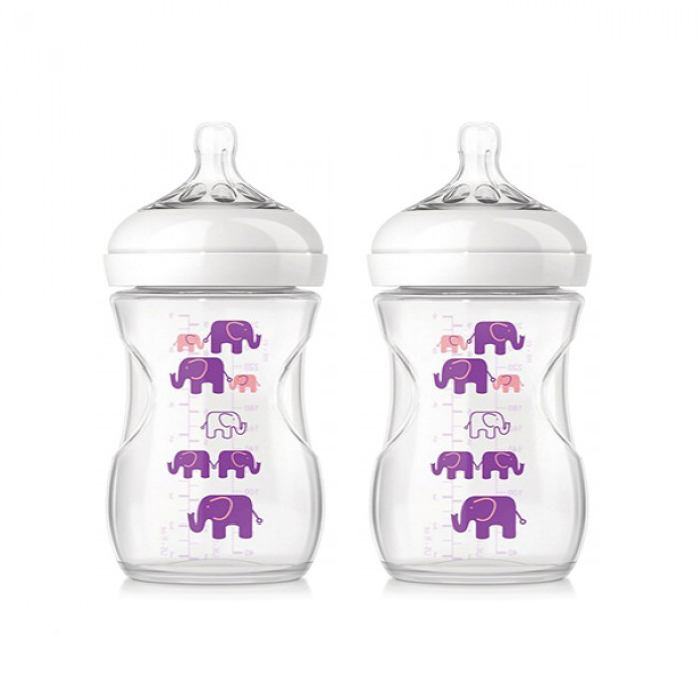 Philips Avent Natural Bottle Elephant Design Pink Purple Twin