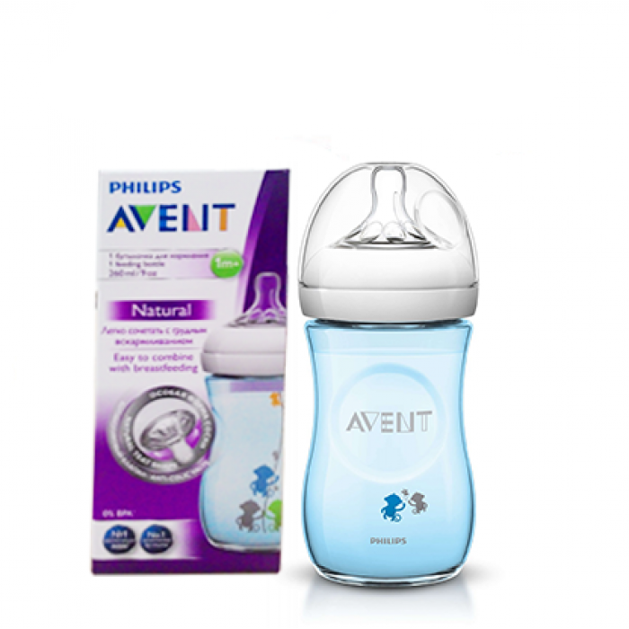 Philips Avent Natural Bottle Special Edition Design Blue Monkey Single Pack